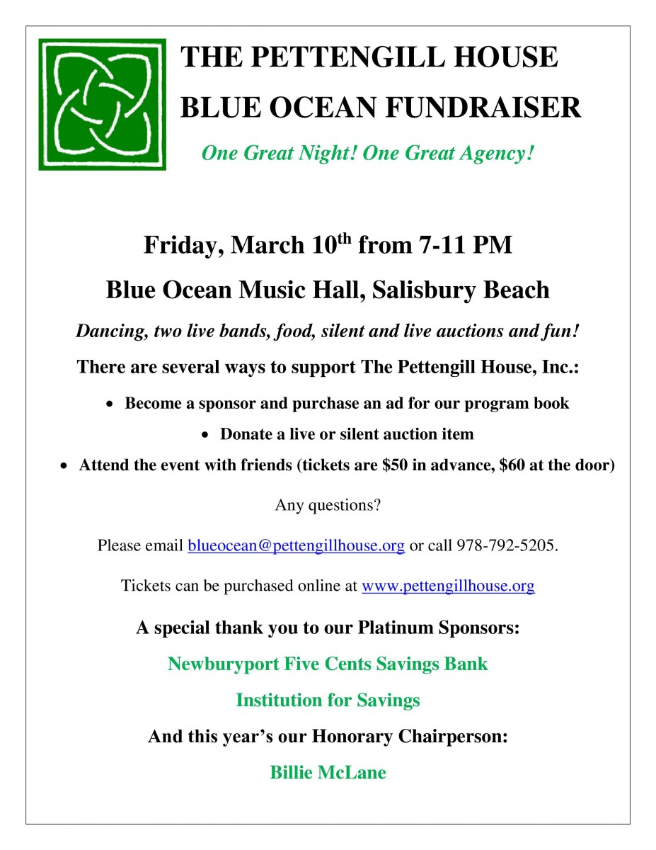 The 6th Annual Pettengill House, Inc Fundraiser @ Blue Ocean Music Hall