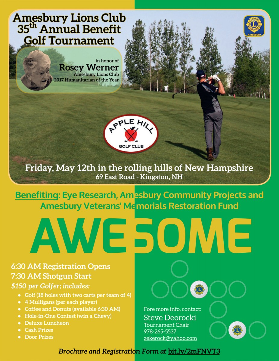 Amesbury Lions Club 35th Annual Benefit Golf Tournament @ Apple Hill Golf Club
