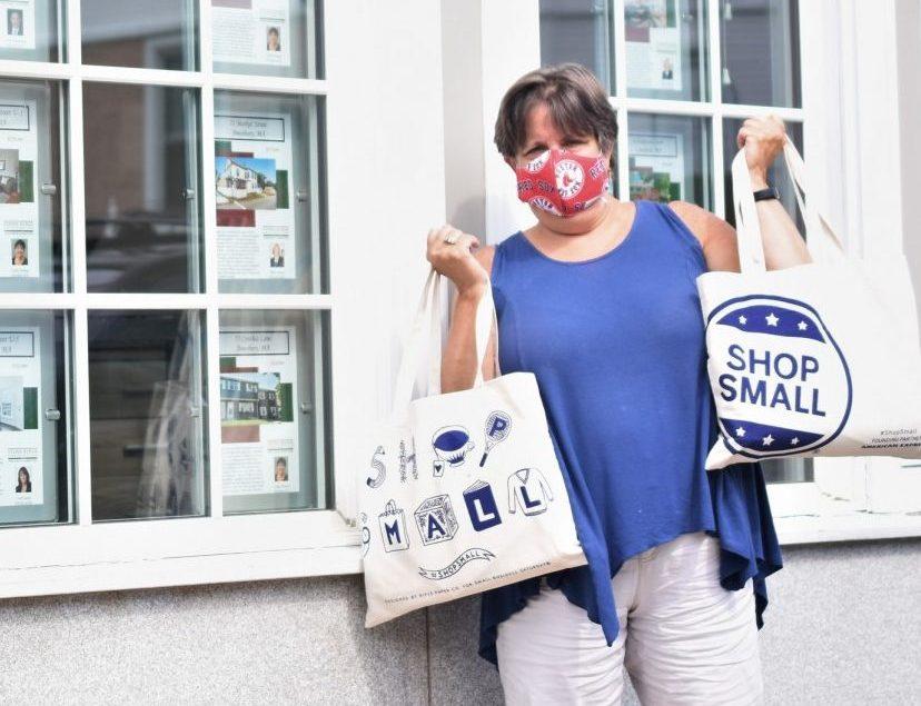 Cathy Toomey displaying Amesbury Welcome Bags