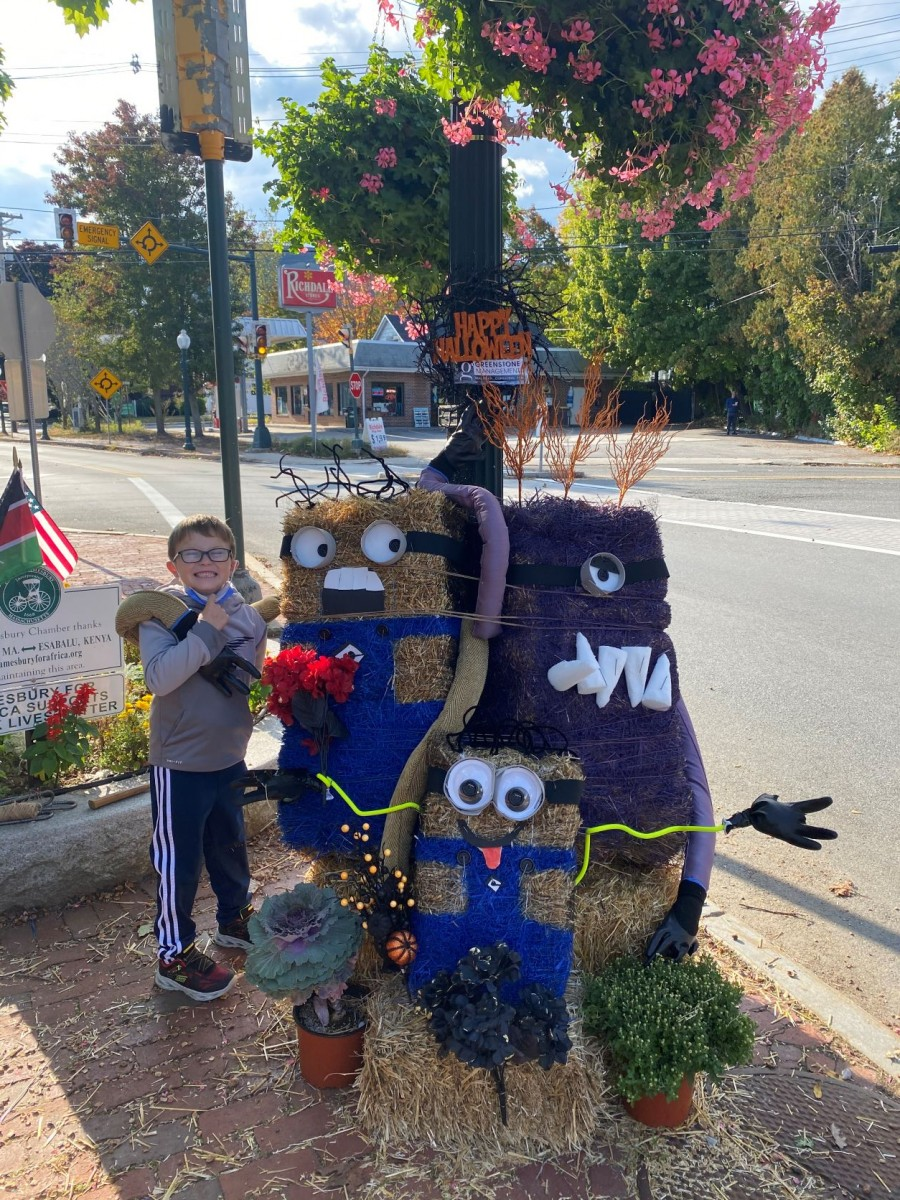 Amesbury Scarecrow Contest from 2020 where Monique Griffin created a trio of Minions